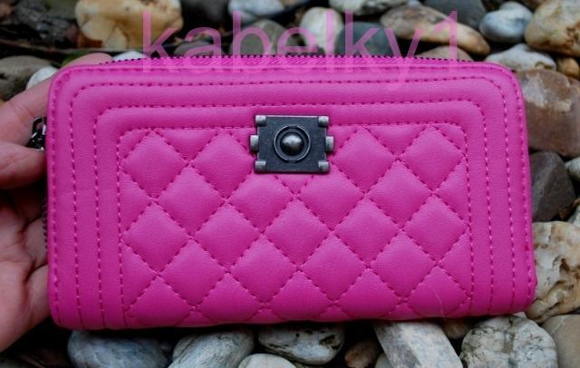 1845b2ca5e Dámska peňaženka ružová štepovaná čierne kovanie
