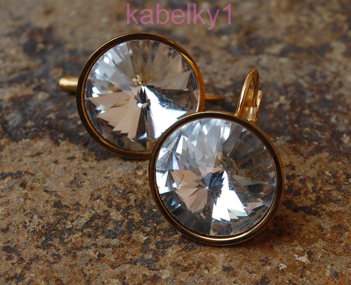 1984369c5 Náušnice zlaté chirurgická oceľ brúsené sklo