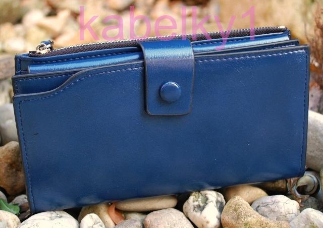 02a41cb9754f Dámska modrá peňaženka dokladovka ekokoža zipsová