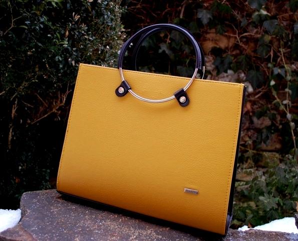 Kabelka žltá horčicová hnedá tmavá kovové rúčky kufrík Grosso empty 8c861bfae7c