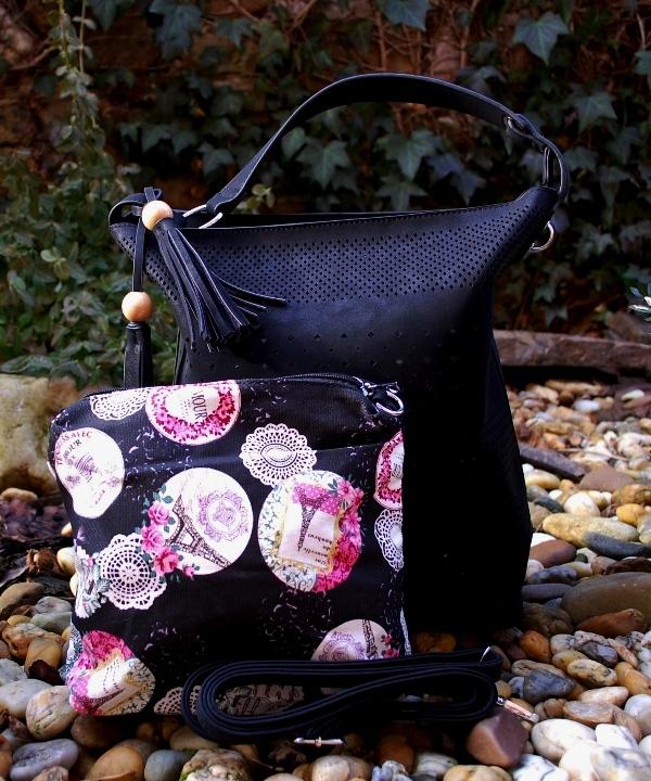 Kabelka čierna perforovaná veľká a malá čierno ružová s kvetmi empty e3b10fd6720